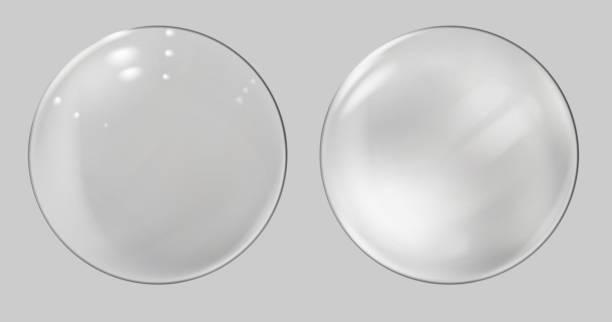 Realistic glass sphere. Transparent ball, realistic bubble vector art illustration