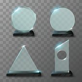 Realistic glass trophy awards in vector