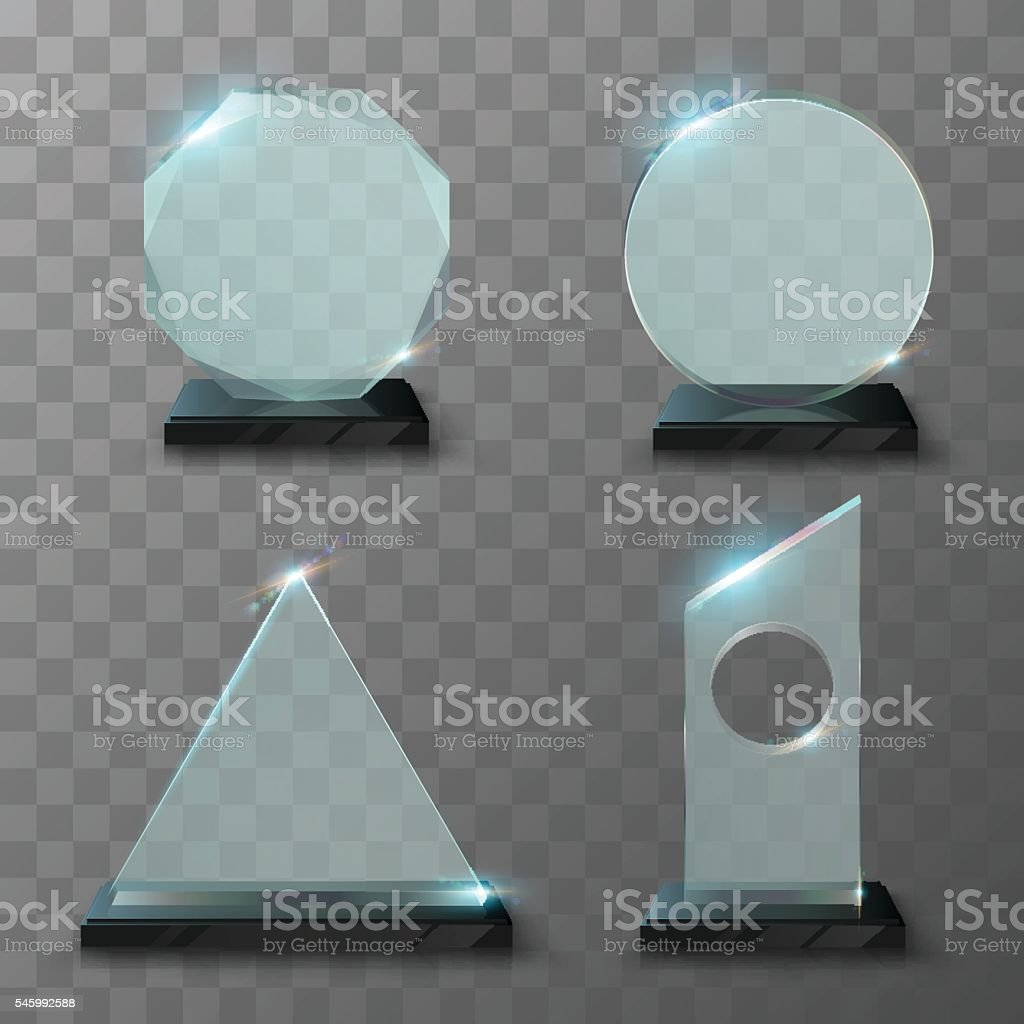 Realistic glass trophy awards vector art illustration