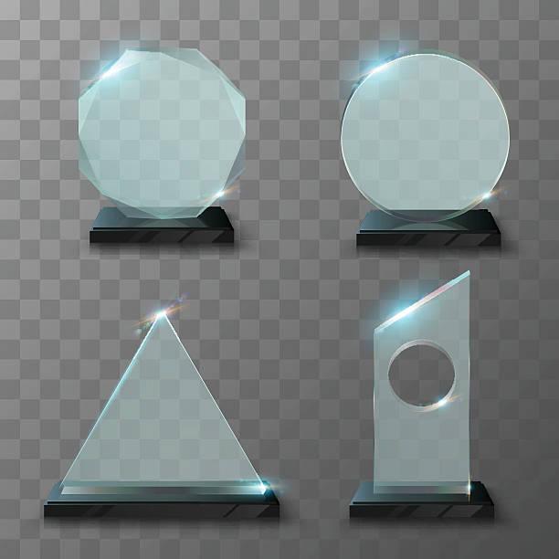 ilustrações, clipart, desenhos animados e ícones de realistic glass trophy awards - molduras de certificados e premiações