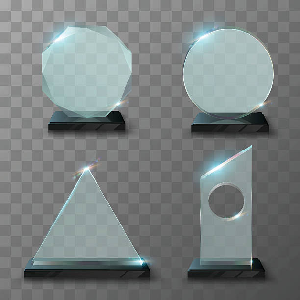 realistic glass trophy awards - 証明書と表彰のフレーム点のイラスト素材/クリップアート素材/マンガ素材/アイコン素材