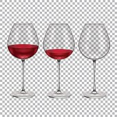 Realistic Glass with Red Wine Set. Vector
