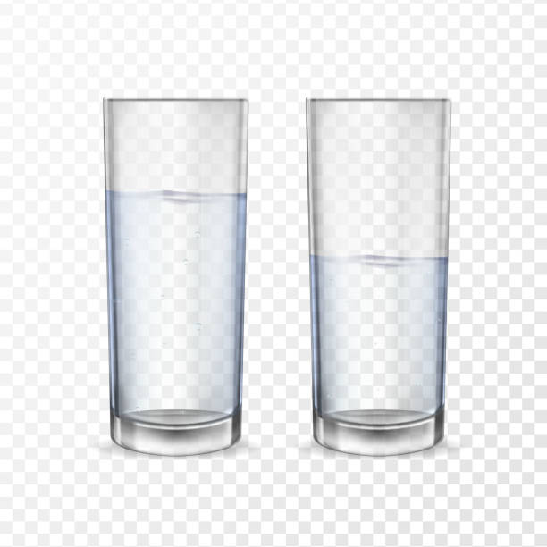 Realistic glasses for drinks with water vector art illustration