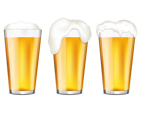 Realistic glasses of beer with bubbles and flowing white foam, isolated on white background.