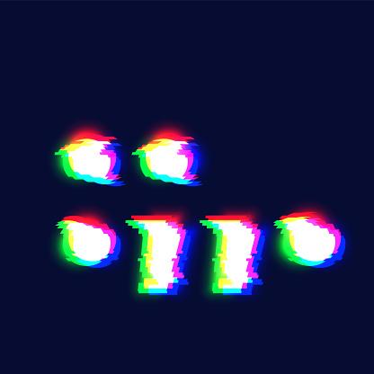 Realistic glitch font character 'colon/semicolon/comma/full stop' vector illustration