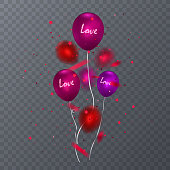 Realistic glossy balloons on dark background, Red balloon bunch. Decoration element for holiday event invitation design