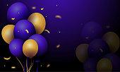 istock Realistic glossy golden, purple, balloon vector illustration 1304355347