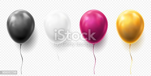 istock Realistic glossy golden, purple, black and white balloon vector illustration on transparent background. Balloons for Birthday, festive occasions, parties, weddings. Festival romantic decorations 935052256