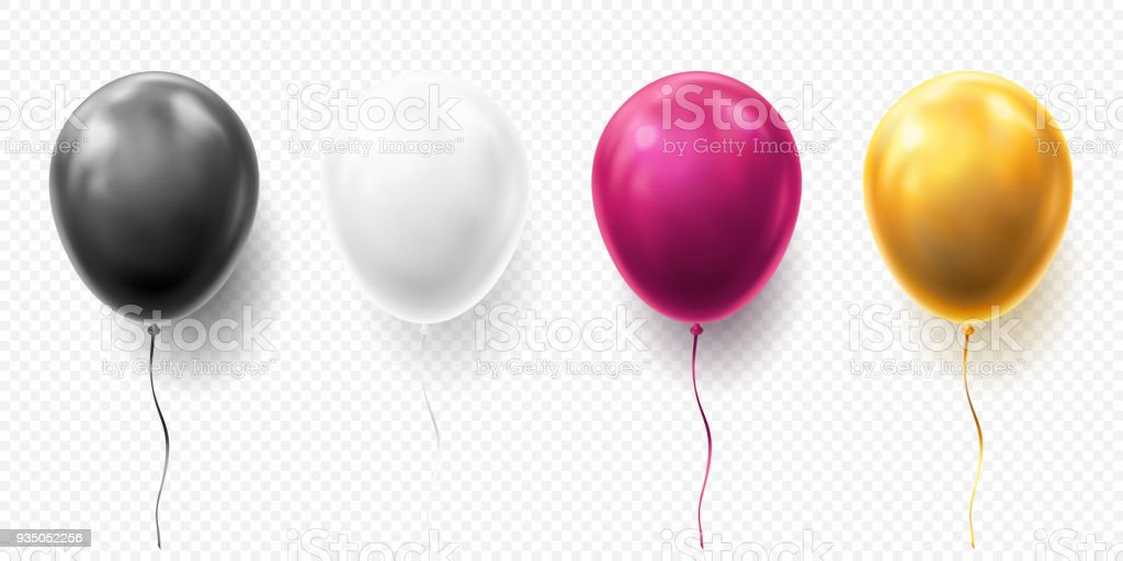 Realistic glossy golden, purple, black and white balloon vector illustration on transparent background. Balloons for Birthday, festive occasions, parties, weddings. Festival romantic decorations vector art illustration