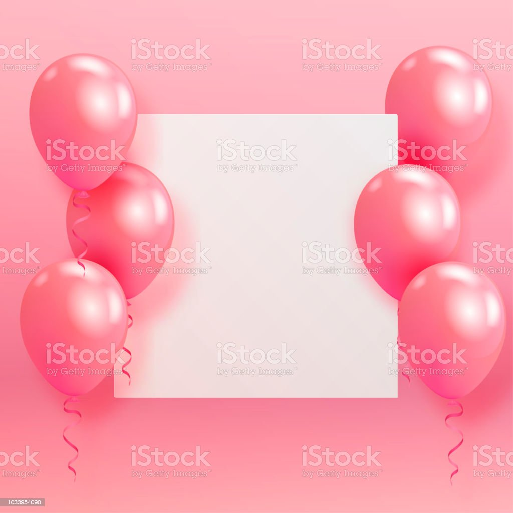Realistic Glossy Helium Balloons And Paper Floating On Pink Background Vector 3D For Birthday