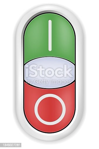 istock Realistic glossy toggle with ON and OFF position on white background 1349327281