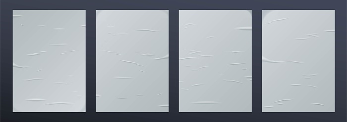 Realistic glued paper set isolated on blue space