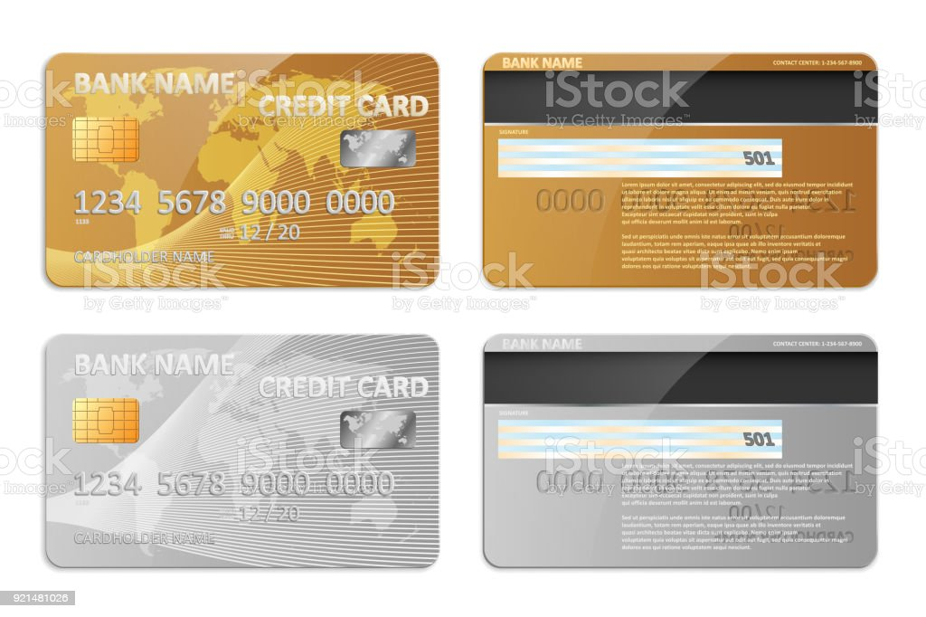 Realistische Gold Und Silber Bank Kreditkarte Vorlage Isoliert Bank ...