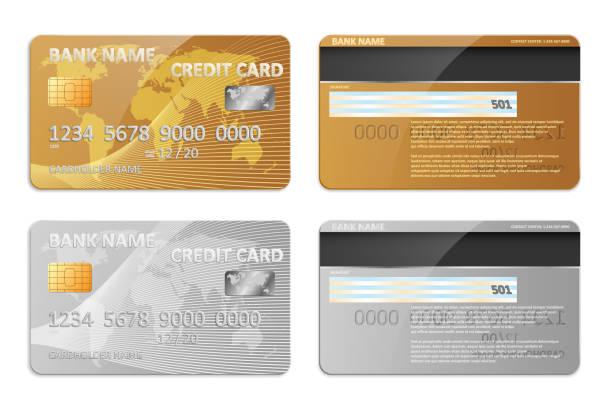 リアルな金と銀は銀行クレジット カード テンプレートの分離です。抽象的なデザインと銀行の世界地図とモックアップをプラスチック製のクレジット カードの銀行します。ベクトル図 - クレジットカード点のイラスト素材/クリップアート素材/マンガ素材/アイコン素材