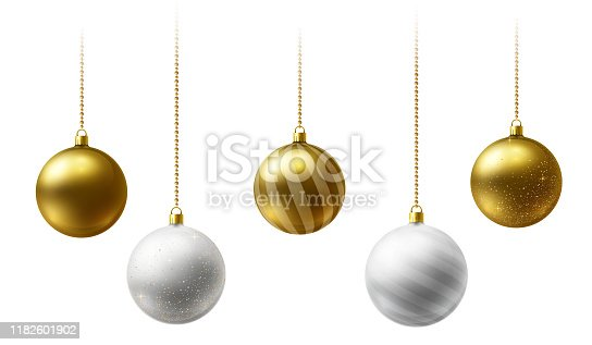istock Realistic gold and  white  Christmas balls hanging on gold beads chains on white  background 1182601902