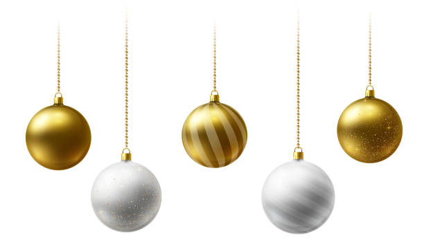 Realistic gold and  white  Christmas balls hanging on gold beads chains on white  background Realistic gold and  white  Christmas balls hanging on gold beads chains on white  background.  New Year background. christmas ornament stock illustrations