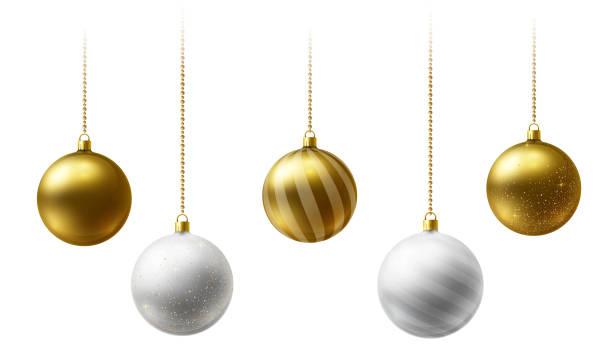 bildbanksillustrationer, clip art samt tecknat material och ikoner med realistiska guld och vita jul bollar hängande på guld pärlor kedjor på vit bakgrund - julkulor