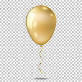 Realistic color balloon, isolated on transparent background.