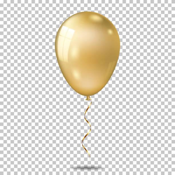 realistische gold ballon, isoliert auf transparentem hintergrund. - ballon stock-grafiken, -clipart, -cartoons und -symbole