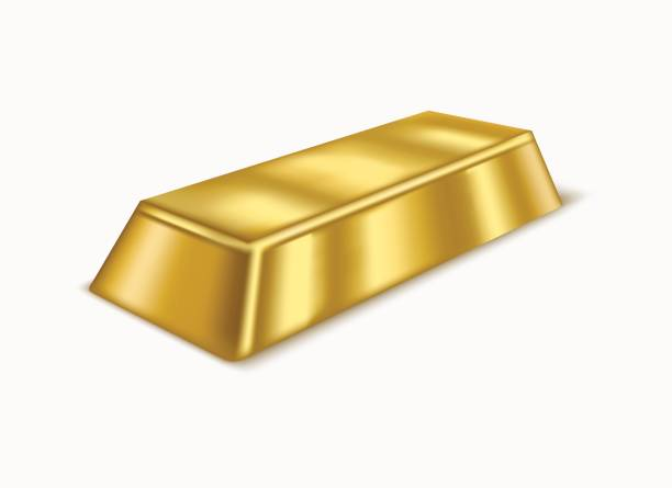 Realistic Gold Bar or Bullion. Vector Realistic Gold Bar or Bullion Treasure Symbol of Rich, Reserve and Luxury Isolated on White Background. Vector illustration ingot stock illustrations