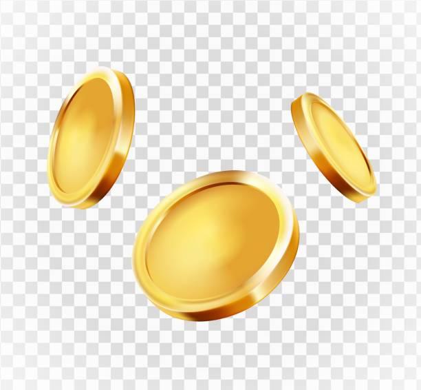 ilustrações, clipart, desenhos animados e ícones de explosão realística das moedas de ouro. isolado no fundo transparente. - moeda