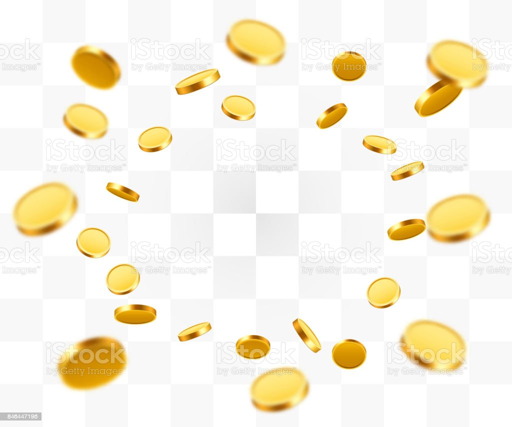 Realistic Gold Coins explosion. Isolated on transparent background. vector art illustration