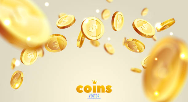 ilustrações, clipart, desenhos animados e ícones de explosão de moedas de ouro realista. isolado no fundo branco. - moeda