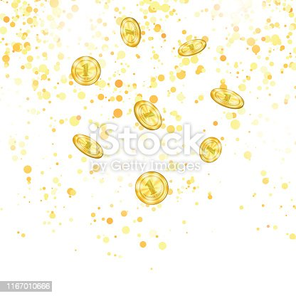 Realistic Gold Coins Falling from the Top. Yellow Metal Money on Falling Confetti Background.