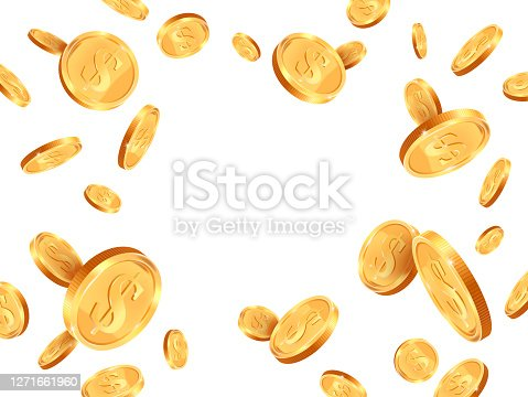 istock Realistic gold coins. Golden coins explosion backdrop, casino jackpot cash money concept, shiny 3D gold treasure vector background illustration 1271661960