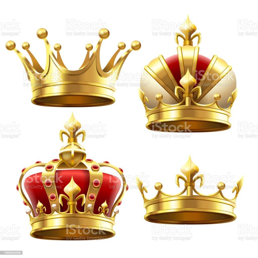 Couronne d'or réaliste. Coiffe de couronnement pour le roi et la Reine. Set vector Royal couronnes - clipart vectoriel de Antiquités libre de droits