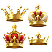 Realistic gold crown. Crowning headdress for king and queen. Royal crowns vector set