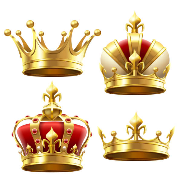 Realistic gold crown. Crowning headdress for king and queen. Royal crowns vector set Realistic gold crown. Crowning headdress for king and queen. Royal golden noble aristocrat monarchy red jewel crowns. Monarch jewels royalty luxury coronation 3d vector isolated icons set crown headwear stock illustrations