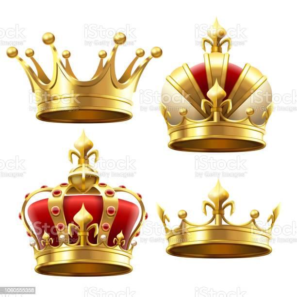 Couronne Dor Réaliste Coiffe De Couronnement Pour Le Roi Et La Reine Set Vector Royal Couronnes Vecteurs libres de droits et plus d'images vectorielles de Antiquités