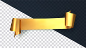 Realistic gold curved ribbon isolated on transparent background. Satin golden ribbon for greeting cards and invitations of the wedding, birthday, Valentine's Day. Vector illustration of curved tape.
