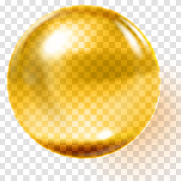 Realistic gold glass ball. Transparent golden sphere vector art illustration