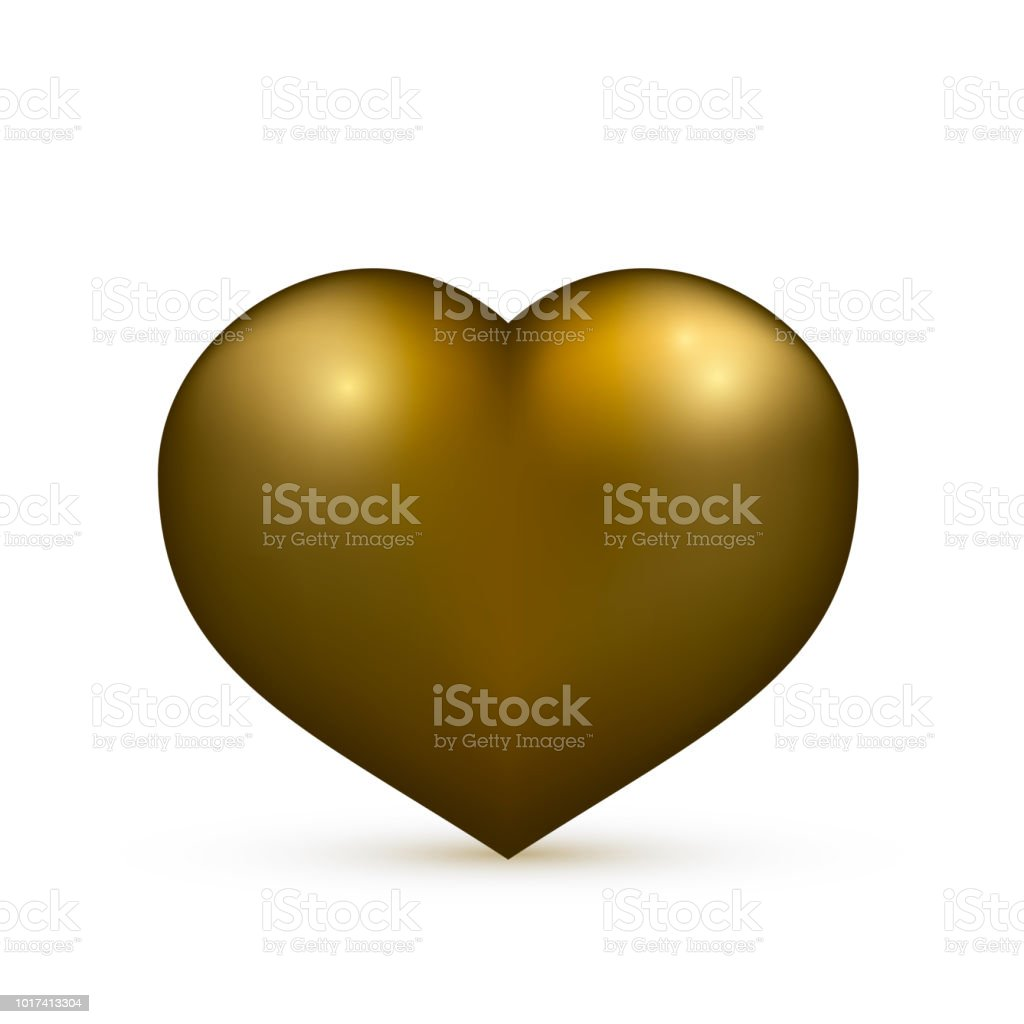 Realistic Gold Heart Isolated On White Valentines Day Greeting Card