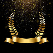 Realistic gold laurel wreath with text space. Premium insignia, traditional victory symbol on black backdrop. Triumph, win poster, banner layout with golden glitter rain. Shiny frame, border