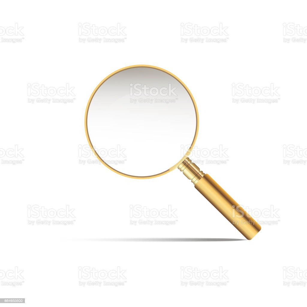 Realistic gold magnifier with shadow on white background. vector art illustration