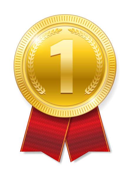 bildbanksillustrationer, clip art samt tecknat material och ikoner med realistiska guldmedalj med röda band för vinnare isolerade. honor-priset. vektorillustration - nummer 1