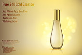 3D Realistic Gold perfume bottle mockup with golden bokeh. Glass cosmetic Contained product advertising. Cosmetic Woman Product Design. Vector Illustration EPS 10