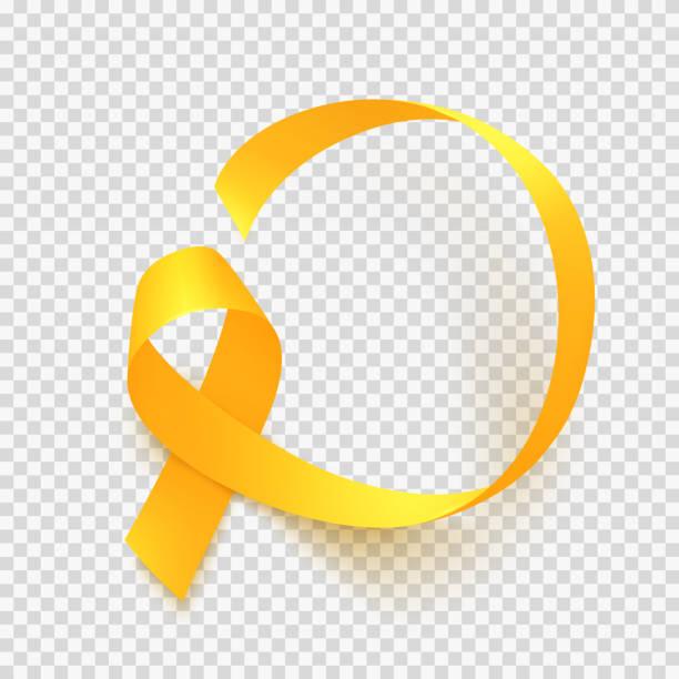 ilustraciones, imágenes clip art, dibujos animados e iconos de stock de cinta oro realista. mundo infantil cáncer conciencia símbolo, vector ilustración. - niñez