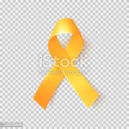 istock Realistic gold ribbon. World childhood cancer symbol 15th of february. 1205200848