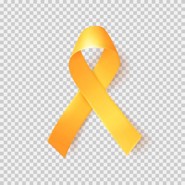 사실적인 골드 리본입니다. 세계 소아암 기호 2 월 15 일. - 노랑 stock illustrations