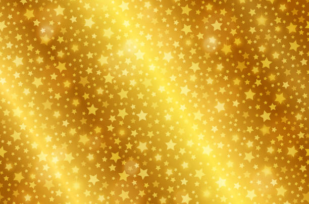 Realistic gold shiny texture with stars. Shiny metal foil gradient. Vector illustration vector art illustration