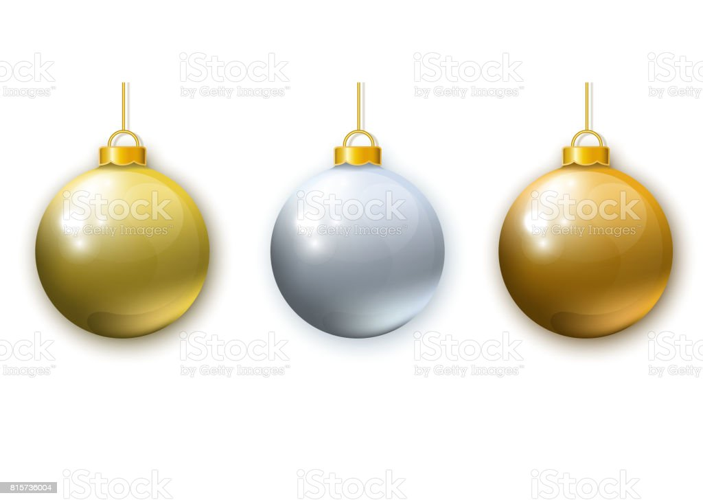 realistic gold silver christmas balls isolated on white background royalty free realistic gold - White And Gold Christmas Ornaments