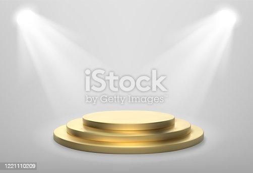 istock Realistic gold stage podium. Round winner pedestal. Illuminated place with spotlight. 3d empty platform. Vector illiustration. 1221110209