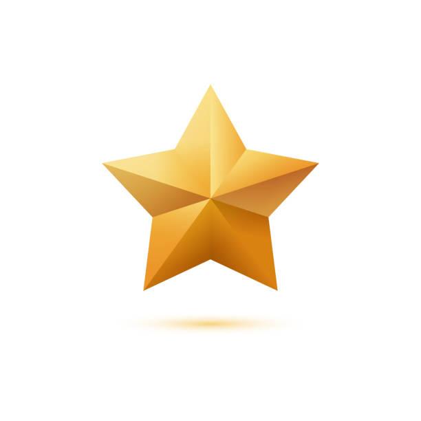 白い背景に分離された現実的なゴールデン 3 d スター アイコン - 成功点のイラスト素材/クリップアート素材/マンガ素材/アイコン素材
