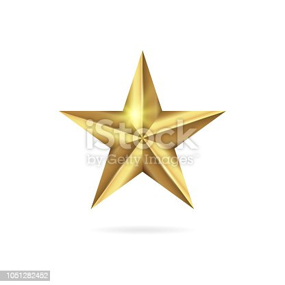 Realistic golden 3D star icon isolated on white background. Vector illustration EPS 10 file