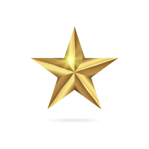 illustrazioni stock, clip art, cartoni animati e icone di tendenza di realistic golden 3d star icon isolated on white background. - stelle