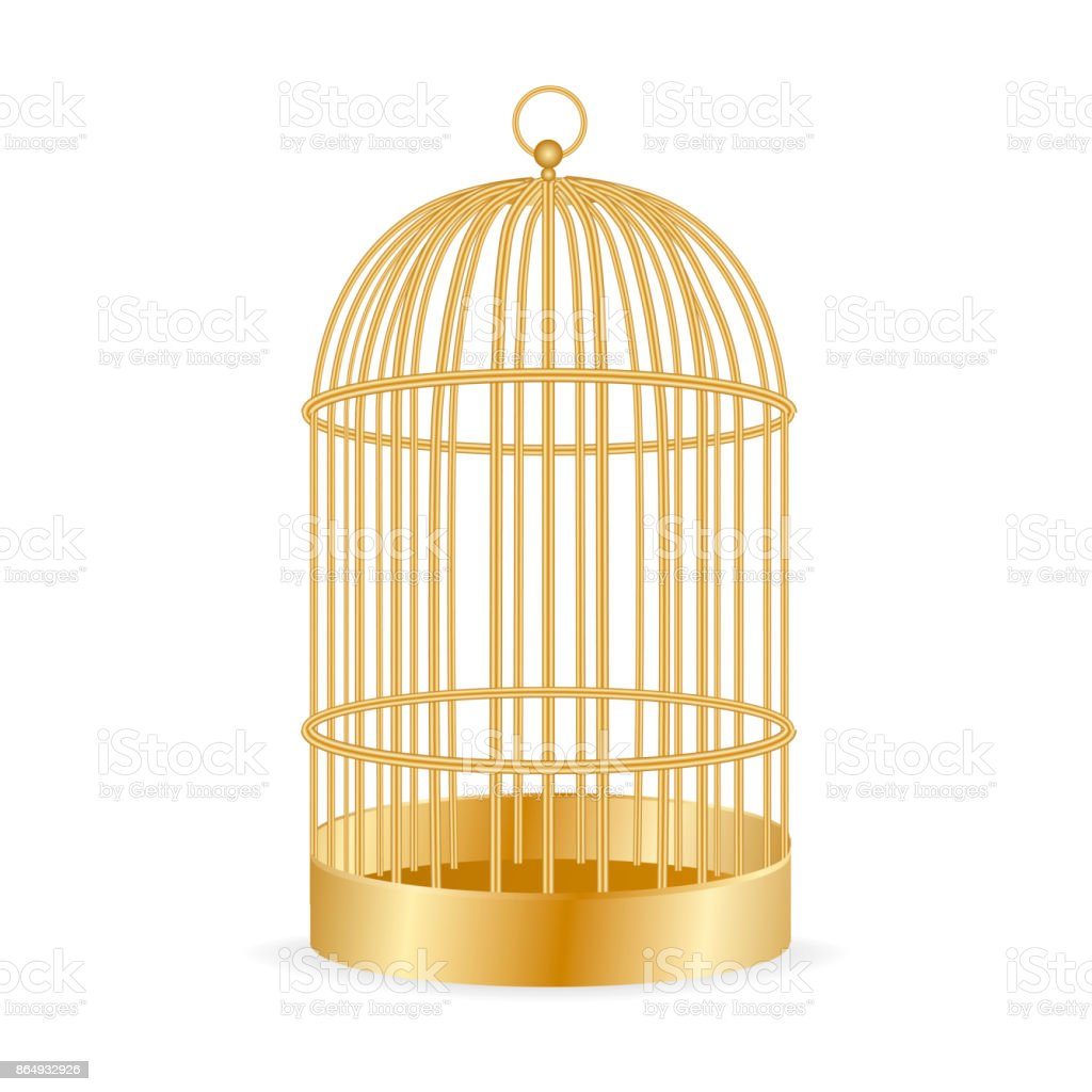 Realistic golden Birdcage isolated on white. vector illustration. vector art illustration